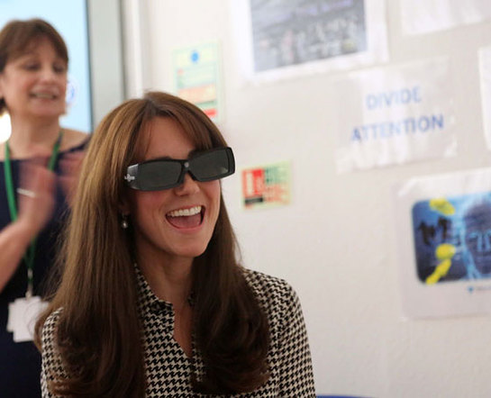 The Duchess of Cambridge dons a pair of 3D glasses as she tests her powers of concentration