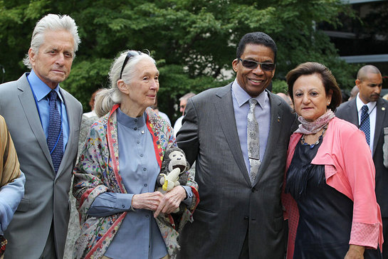 Michael Douglas and Jane Goodall at the annual Peace Bell Ceremony