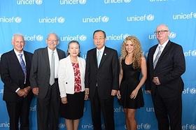Dr. Jack Shonkoff, of Harvard University; UNICEF Executive Director Anthony Lake; Madame Yoo Soon-taek; UN Secretary-General Ban Ki-moon; Shakira; and Matthew Bishop, of The Economist