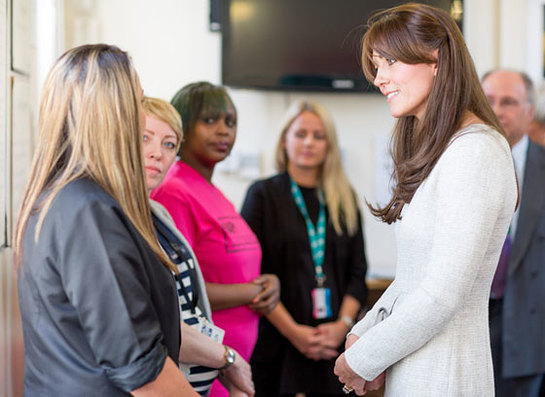 The Duchess of Cambridge meets prisoners being treated for addiction at Send Womens' Prison