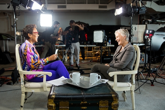 Robin Roberts, host of the WebMD Health Hero Awards Gala, interviews WebMD Health Hero People's Choice Award Winner, Glenn Close