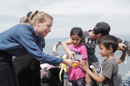Piper Perabo meets refugees who have landed on the Greek island of Lesbos