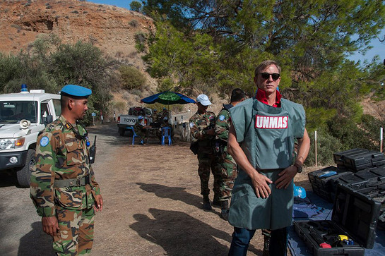 Daniel Craig visiting Cyprus on a two-day visit with the UN Peacekeeping Force in Cyprus