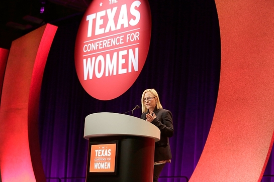 Patricia Arquette addresses 7000 attendees at the sold-out 16th annual Texas Conference for Women in Austin