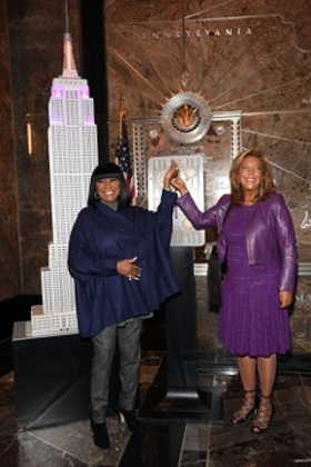 Patti LaBelle and Denise Rich light the Empire State Building in honor of Angel Ball 2015