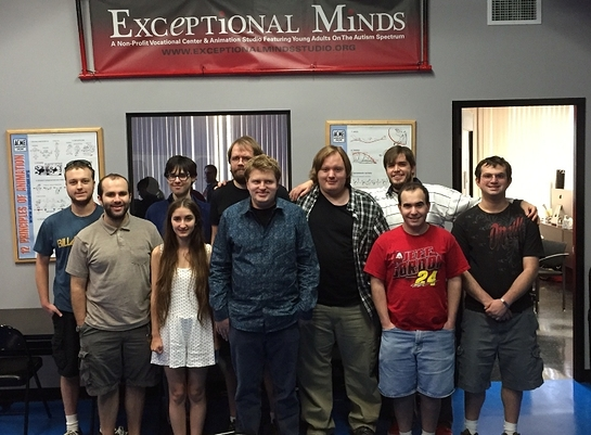 Shane McKaskle, center, and the other artists at Exceptional Minds school of young adults with autism